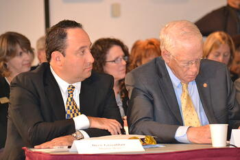 """Marlin Steel President Drew Greenblatt and William (Brit) Kirwan, chancellor and chief executive officer, University System of Maryland at roundtable on """"Strengthening Skills in Our 21st Century Workforce"""""""