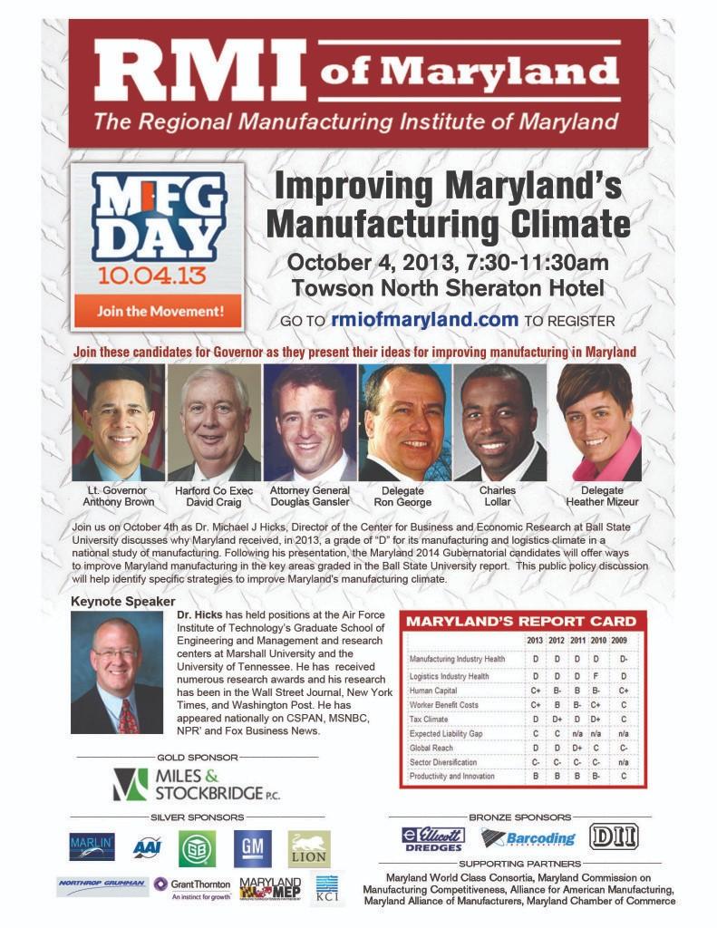 Regional Manufacturing Institute RMI of Maryland Oct 4 event