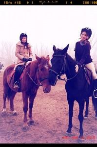 Alexandria Liu and friend horseback riding in Beijing
