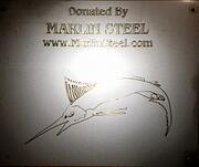 Marlin Steel logo fabricated in sheet metal