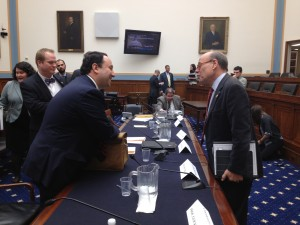 Marlin Steel President Drew Greenblatt discusses regulation with Rep. Steve Cohen of Memphis, Tennessee after House Judiciary subcommittee hearing Thursday.