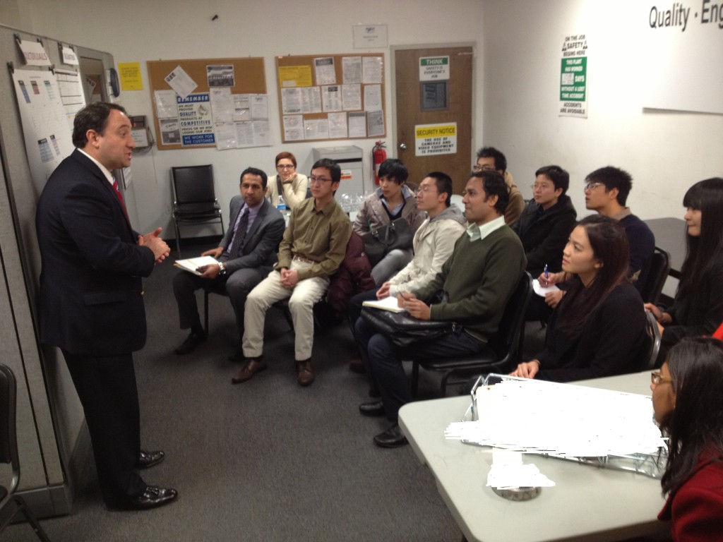 Marlin Steel President Drew Greenblatt discusses business with MBA students from Johns Hopkins University