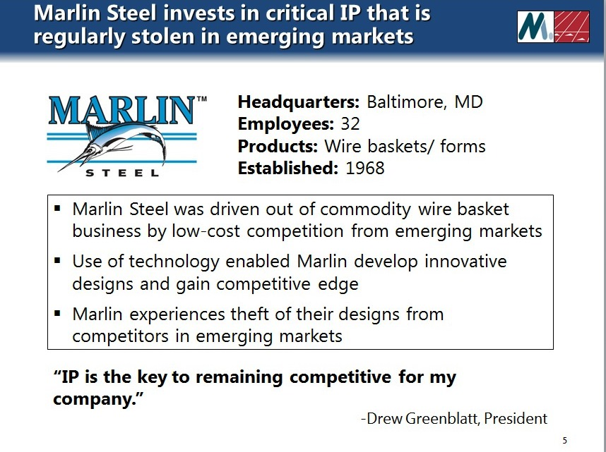 Marlin Steel invests in software technology that is regularly stolen in emerging markets