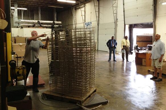 Logistics Manager Chuck Poole preparing Marlin Steel donation for Maryland veterans assistance group