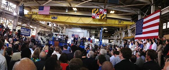 President Obama at Ellicott Dredges in Baltimore