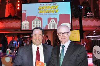 Marlin Steel President Drew Greenblatt and Harvard University professor Michael Porter, founder and chairman of the Initiative for a Competitive Inner City