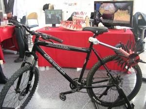 Bike-powered chicken plucker