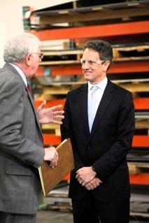 Dr. Marshal Greenblatt of Marlin Steel and U.S. Treasury Secretary Timothy Geithner