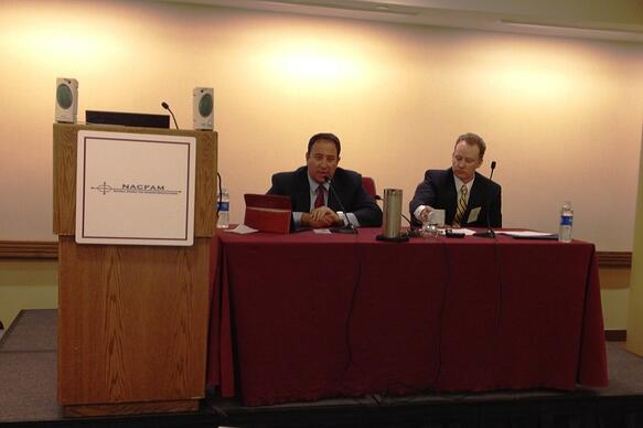 Drew Greenblatt of Marlin Steel and Mark Webber of Lockheed Martin on NACFAM panel yesterday.