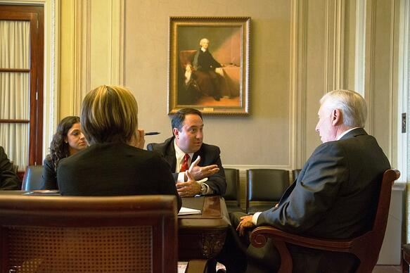 Marlin Steel President Drew Greenblatt discusses U.S. manufacturing policy with Congressman Steny Hoyer on Capitol Hill / Photo by David Bohrer-National Association of Manufacturers