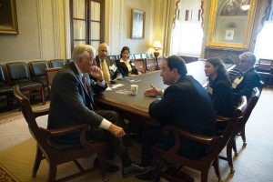 Congressman Steny Hoyer meets with Marlin Steel President Drew Greenblatt and members of the National Association of Manufacturers