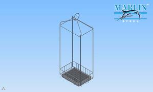 the wire ring at the top makes it easy to attach this basket to a hoist, while the long wire cage keeps said hoist well clear of the vapors in the degreasing process.