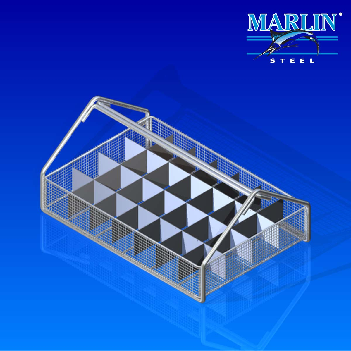 Marlin Steel Wire Basket with Dividers 855001