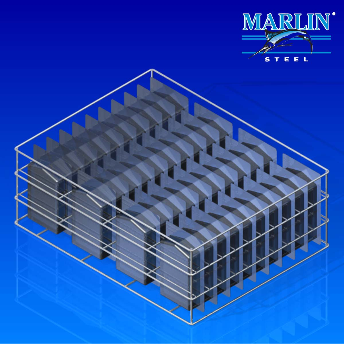 Marlin Steel Wire Basket with Dividers 371003