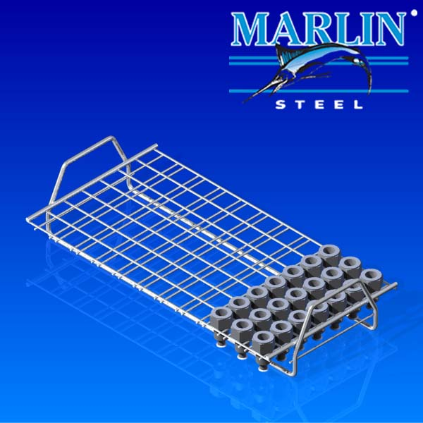 This ultrasonic parts washing basket looks like a cookie rack with handles, but it's for holding parts through an ultrasonic washing process with minimal interference.