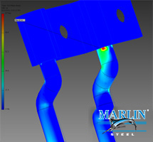 Stress analysis allows Marlin's engineers to make sure a part can take the strain of the expected load.
