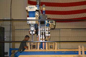 The Ideal welder has an enormous welding table, more than twice the size of a standard automated welder.