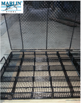 A lidded wire basket with a divider is ideal for industrial impregnation equipment.