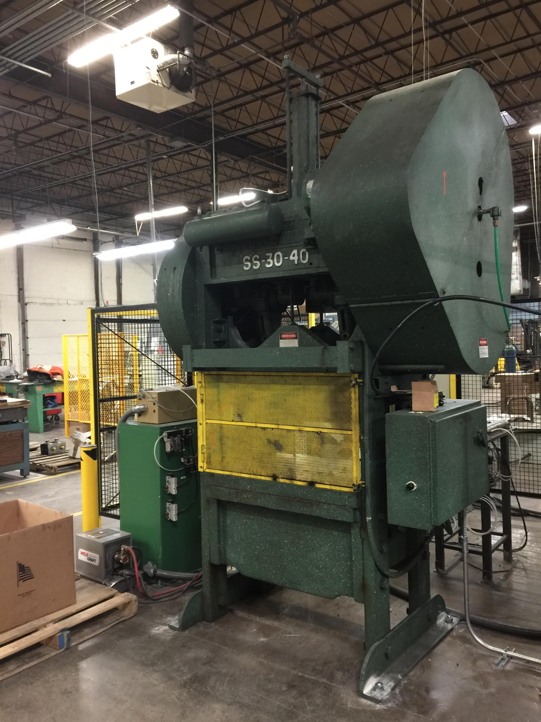 The Rouselle 8SS40 Double Crank Straight Side Press on the Marlin Steel factory floor.