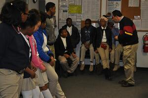 Marlin CEO Drew Greenblatt addresses a class who was touring the Marlin Steel factory in Baltimore.