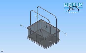 wire mesh parts washing basket with large handles.