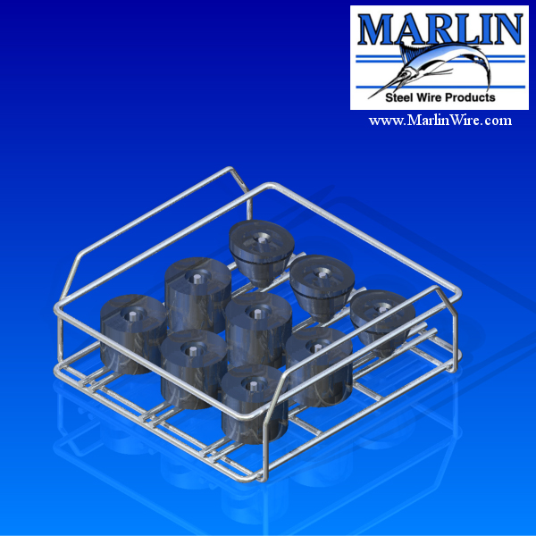 This pin-type wire basket allows free access to the basket contents while also securely holding them in place.