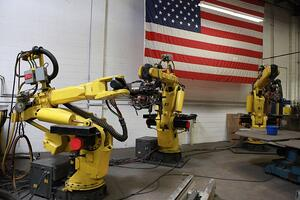 welding robots such as these help improve productivity and keep workers safe from direct exposure to common welding hazards.