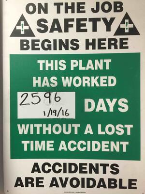 2596 Days without a lost time accident
