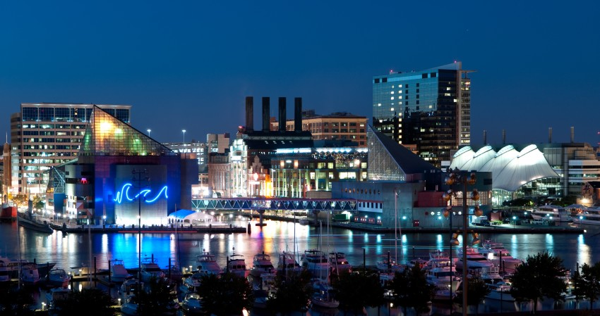 Baltimore Harbor at night.