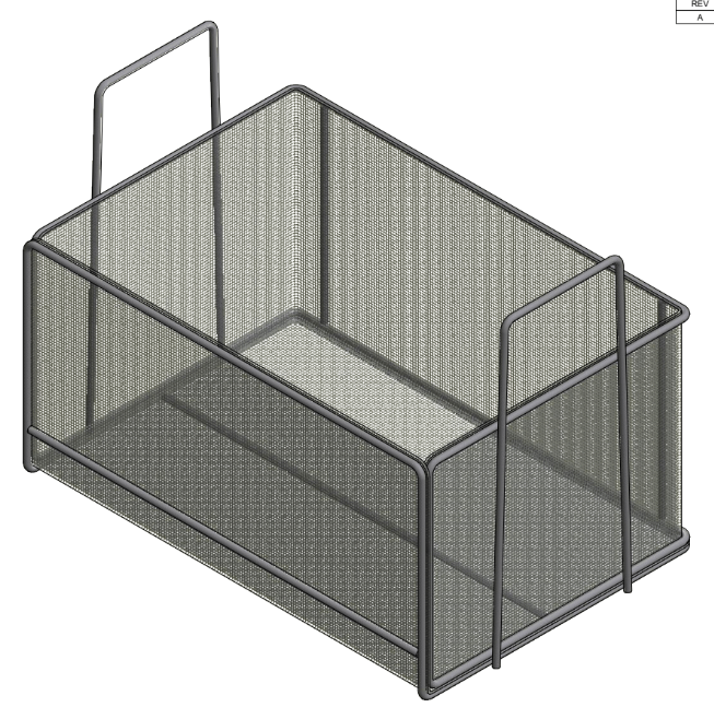 This washing basket uses an open design to allow parts to sit in any arrangement and to minimize interference with the wash process.