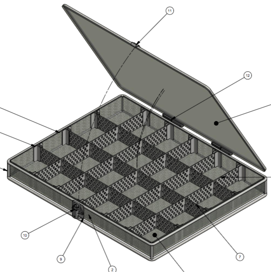 This PVC-coated basket uses dividers and a lid to keep parts sorted through numerous cleaning processes.