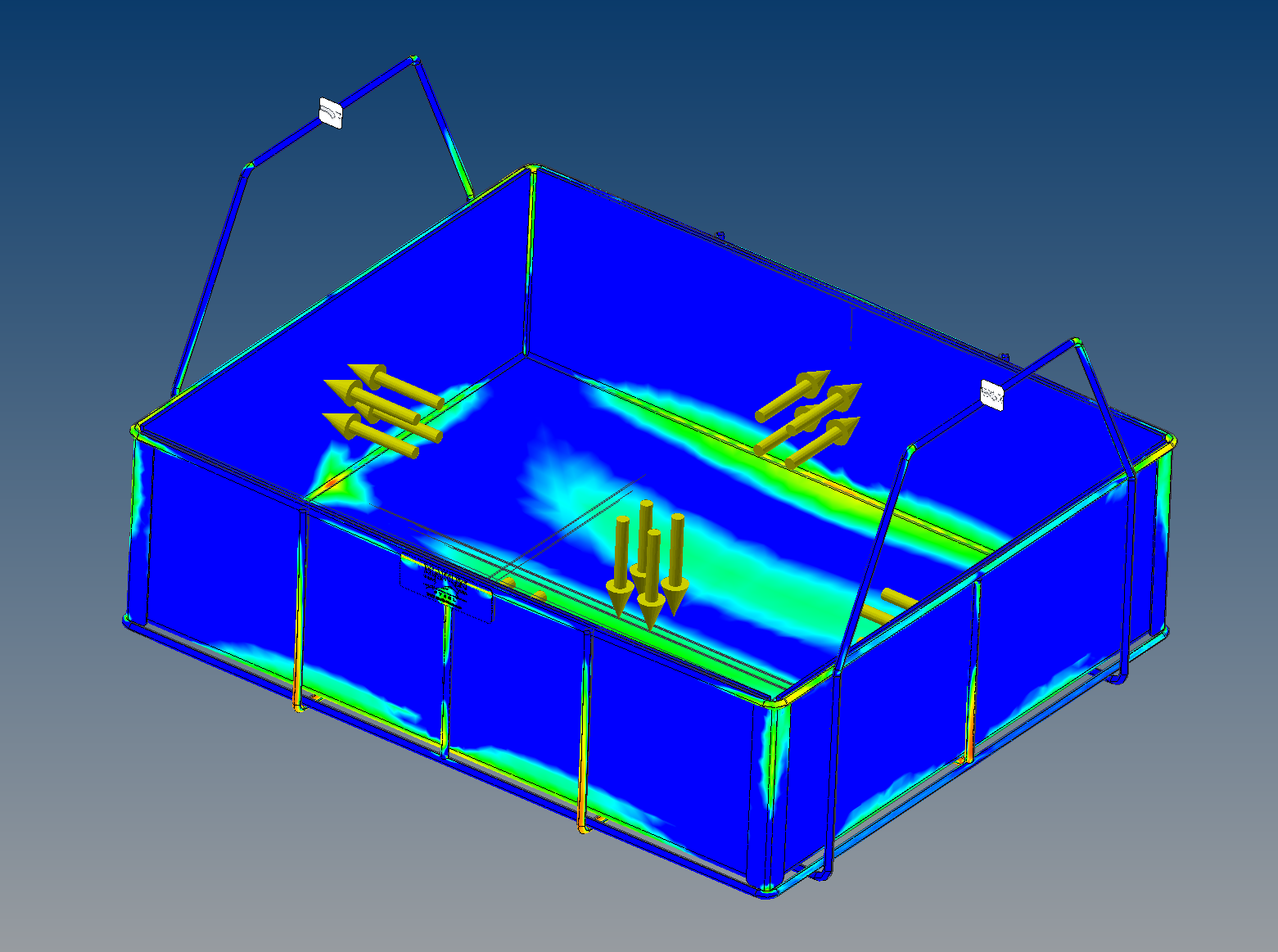 A closeup image of a basket's stress analysis test results.