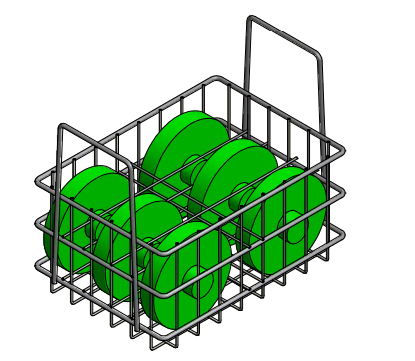 This basket design needed to hold 18 pounds of parts while supporting up to 3 other fully-loaded baskets on top.