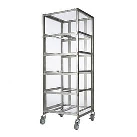 Carts like this can hold numerous trays or baskets in a narrow vertical space, saving floor space.