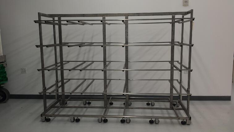 This particular cart is over twice as wide as a standard stainless steel cart.