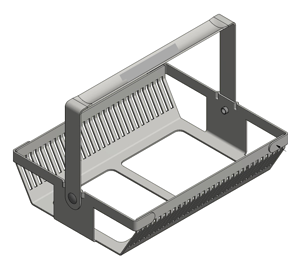 This custom slide basket holds microscope slides using a series of narrow slots in the side of the sheet metal.