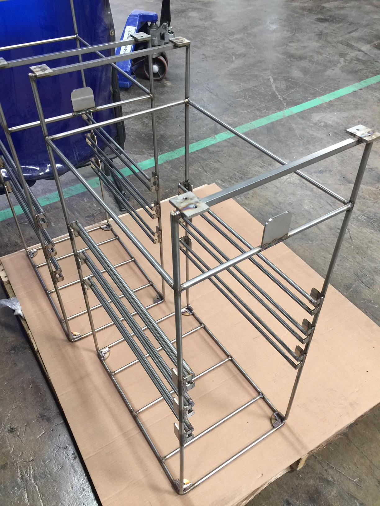 This grade 316 stainless steel pharmaceutical manufacturing rack was specially optimized for a harsh sterilization process.