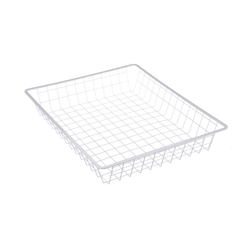 The smooth sheet metal top of this wire basket is designed to easily slot into shelving units.