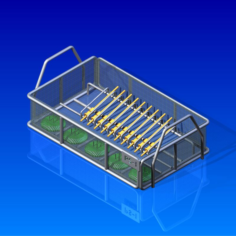 This medical parts tray holds different parts securely in place for a sanitation/cleaning process.