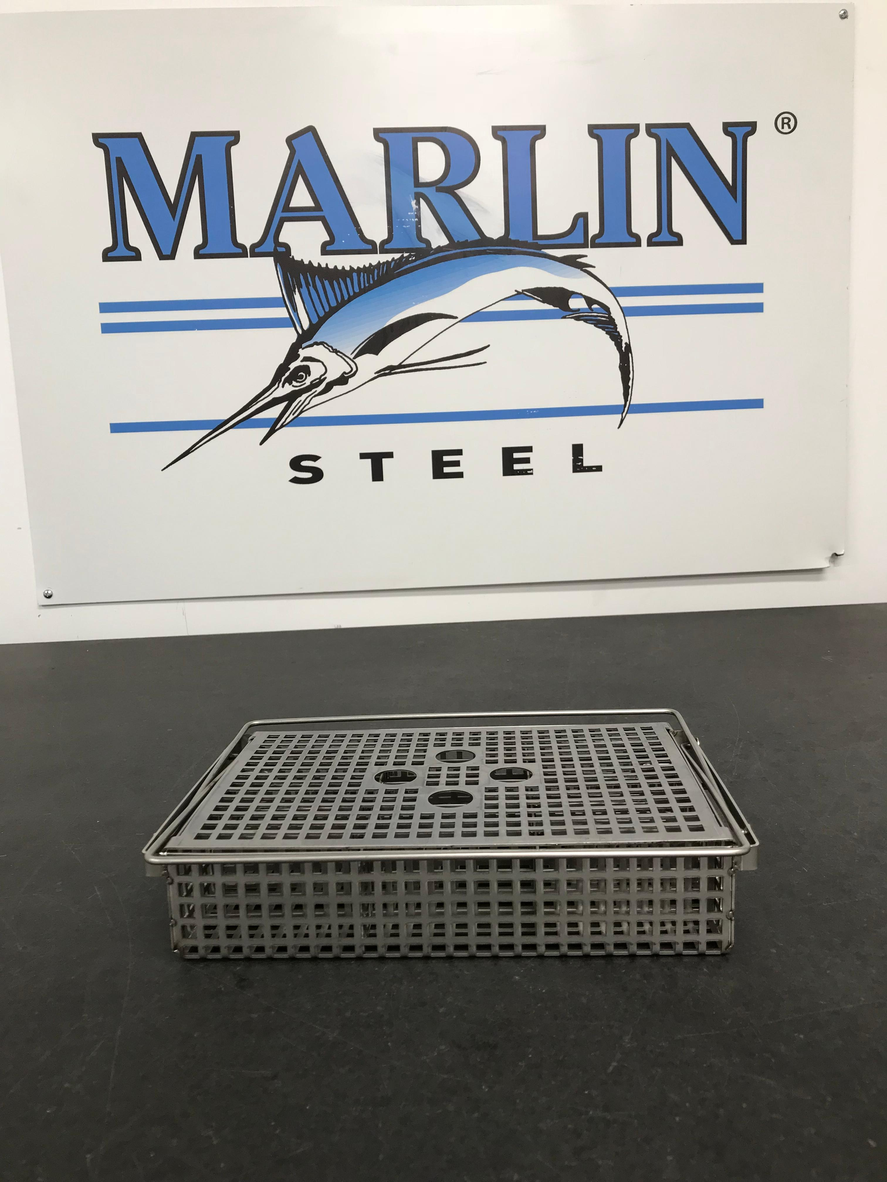 A stainless steel sheet metal basket for holding medical cassettes through a rigorous sterilization process.