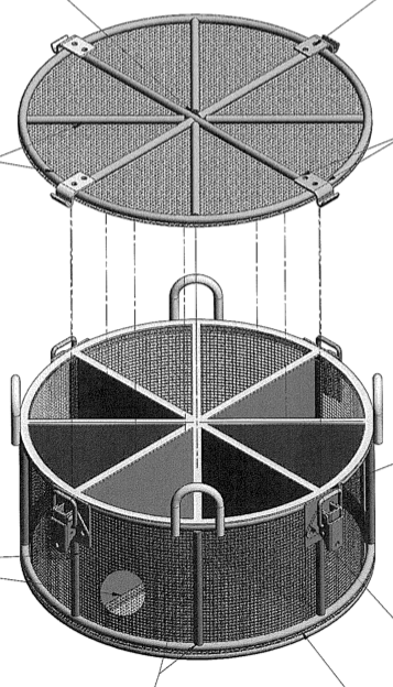 This custom wire mesh basket used 8 separate chambers to help increase efficiency for a catalytic refinement process.