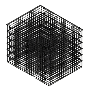 A stack of multiple food processing wire baskets.