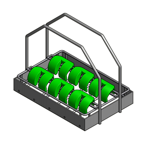 The insert goes inside a larger basket with a solid enclosure to keep parts from falling out.