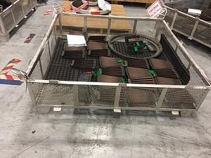 Stainless Steel Mesh Aircraft Parts Cleaning Basket loaded with test components.