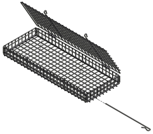 This turkey leg basket features a lid held in place with a bar to keep it from falling open during the deep-frying process.