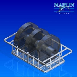 This automotive basket features large handles to make manually moving it between processes easier.