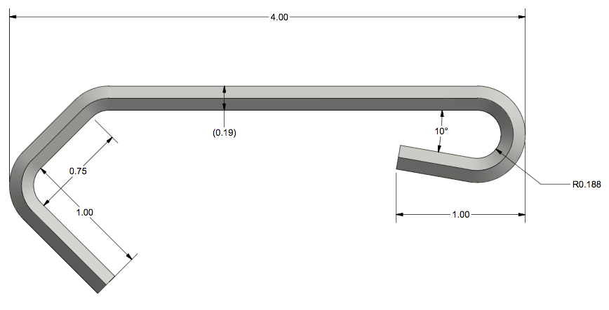 A CAD drawing of the custom wire hook's design.