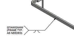 This marker indicates a bevel groove weld to be placed on both sides of the wire form.