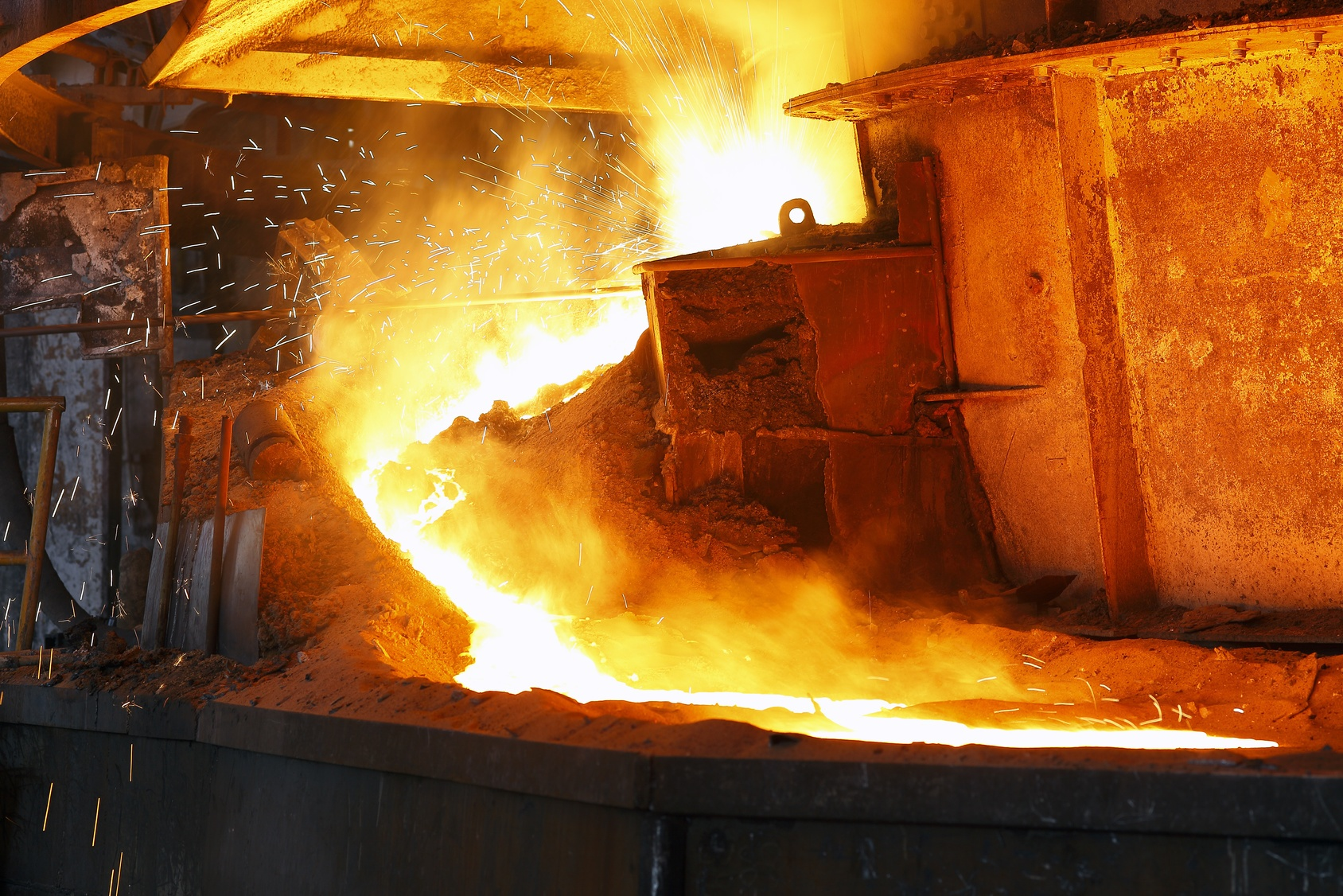This river of molten metal would be an example of liquefied, or melted, steel.