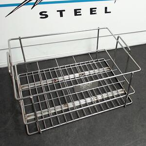 This grade 316 stainless steel basket was custom designed for pharmaceutical applications.